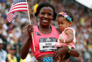 EUGENE, OR - JUNE 28:  Alysia Montano poses with her daughter Liliana after winning the Women's 800 Meter Run final during day four of the 2015 USA Outdoor Track & Field Championships at Hayward Field on June 28, 2015 in Eugene, Oregon.  (Photo by Christian Petersen/Getty Images)